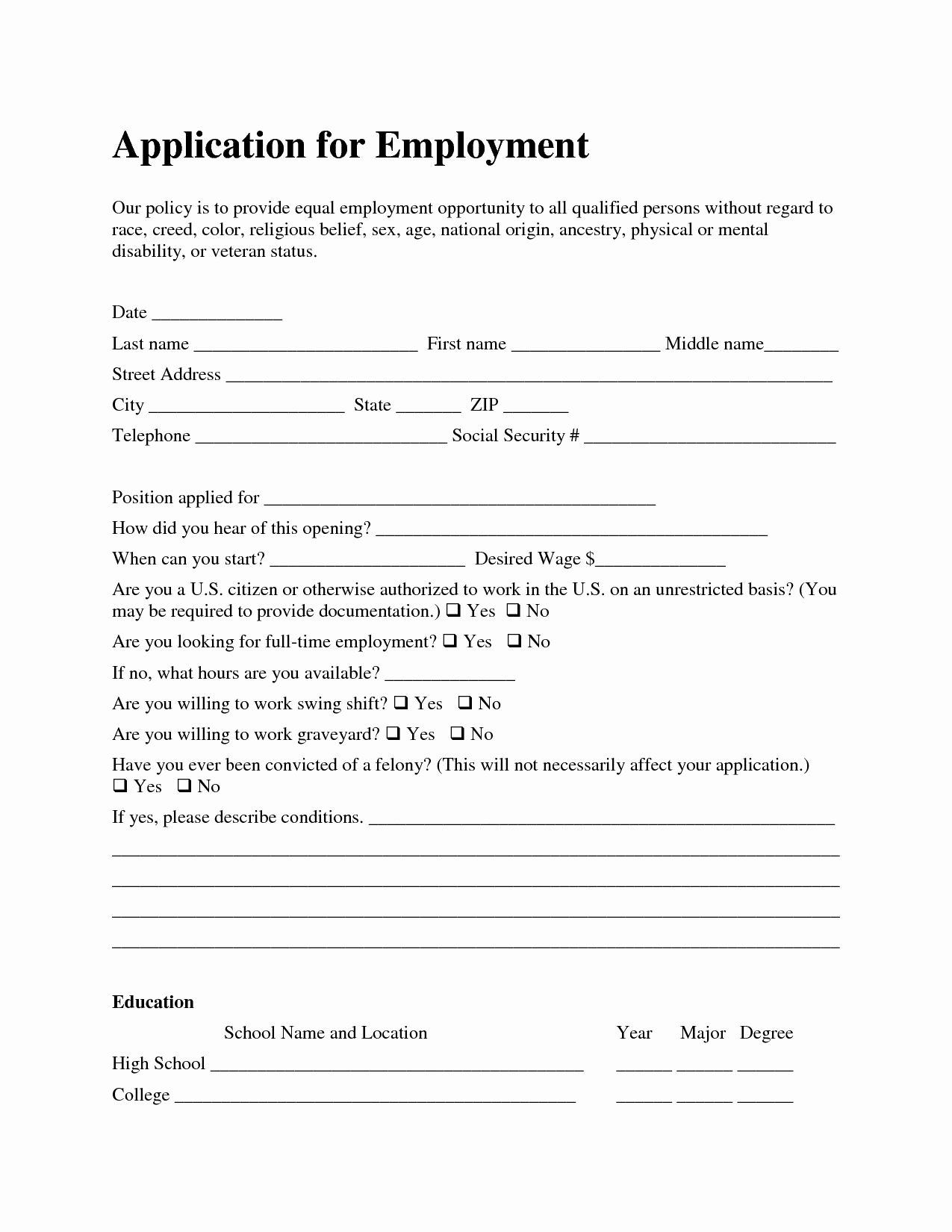 30 Job Application form Sample format in 2020 Employment