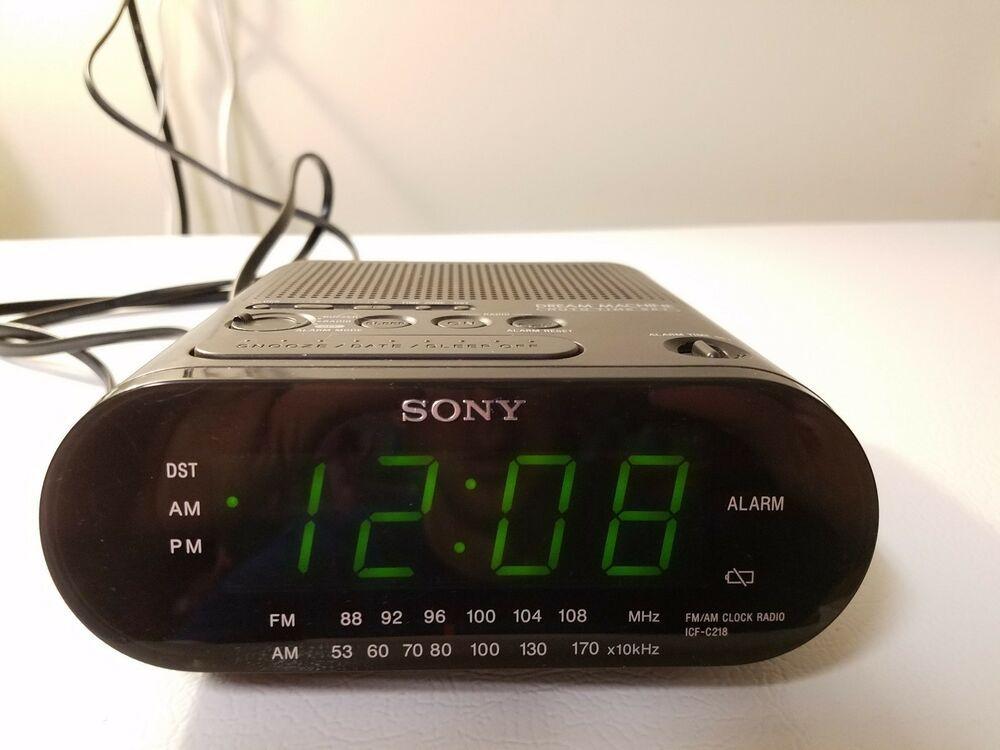 Sony Am Fm Icf C218 Black Dream Machine Alarm Clock W Am Fm Radio