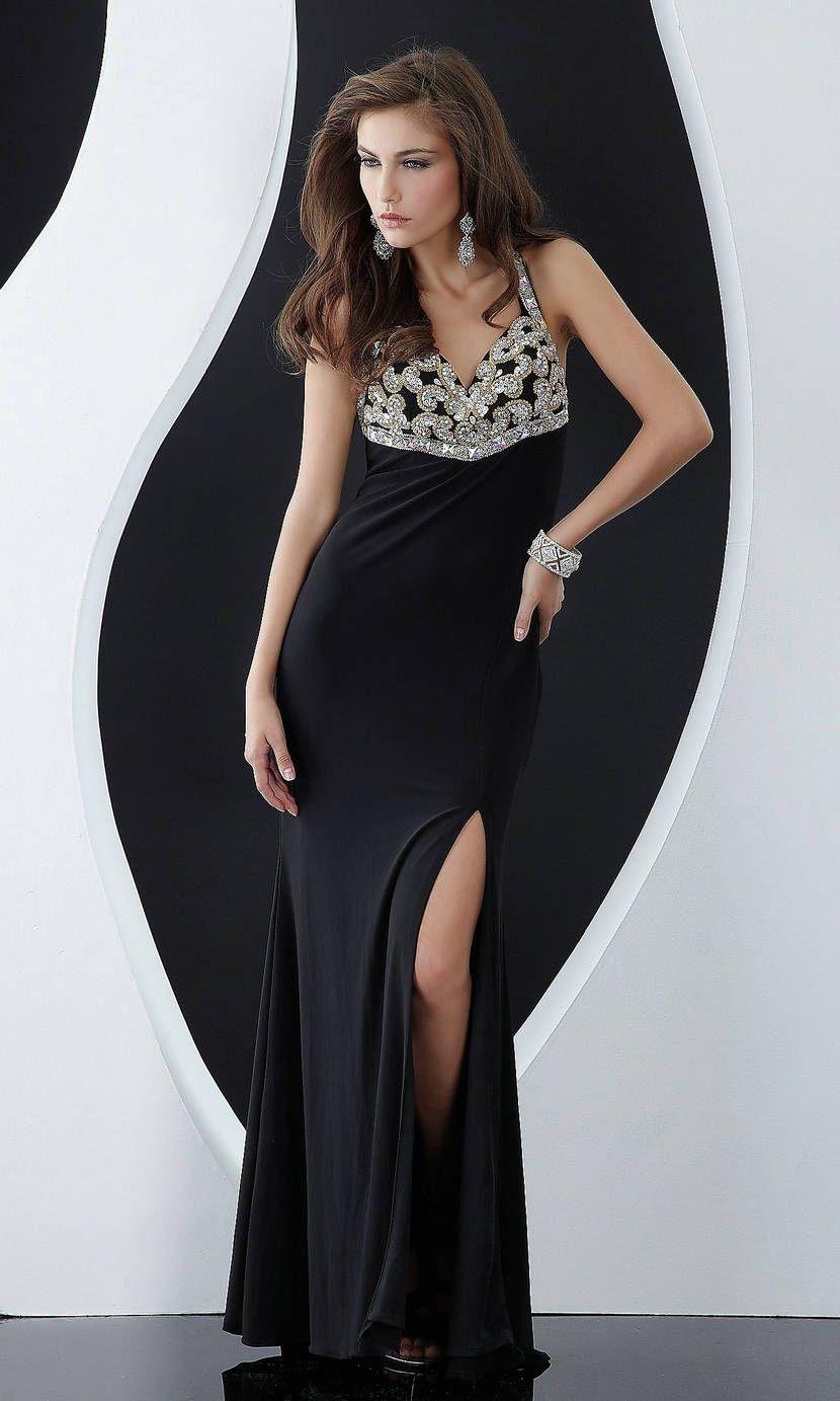 Beaded Open Back Side Slit Long V Neck Sequin Keyhole Black Prom