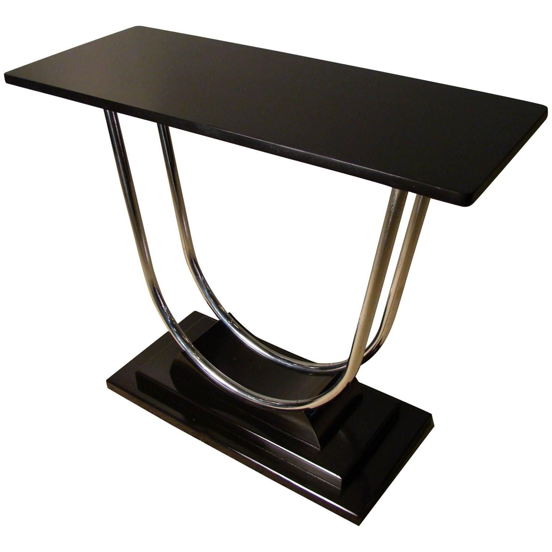 Stunning art deco machine age streamline chrome console table stunning art deco machine age streamline chrome console table circa 1930s geotapseo Images