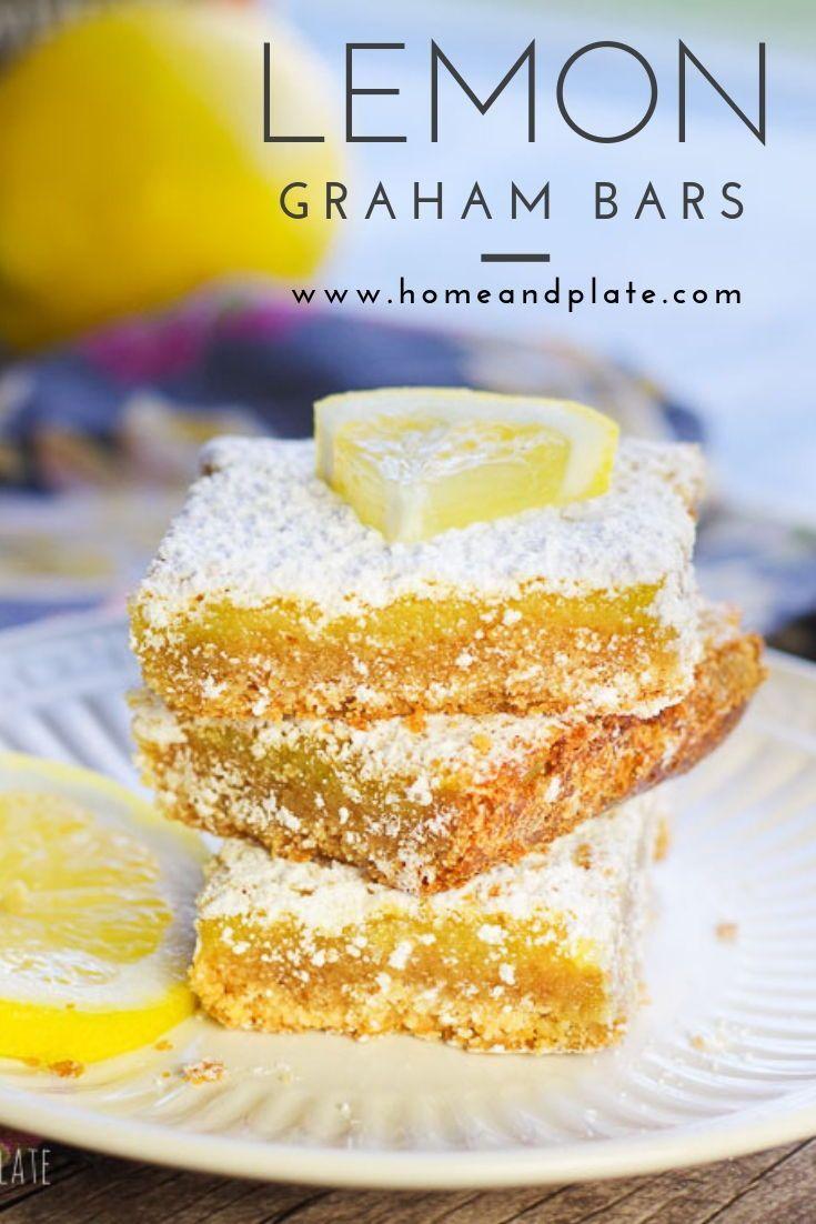 These lemon graham bars feature an easy homemade graham cracker-like crust and a sweet and tart lemon filling. #lemonbars #lemonsquares #lemondessert #lemonbarsrecipe #meyerlemonrecipe