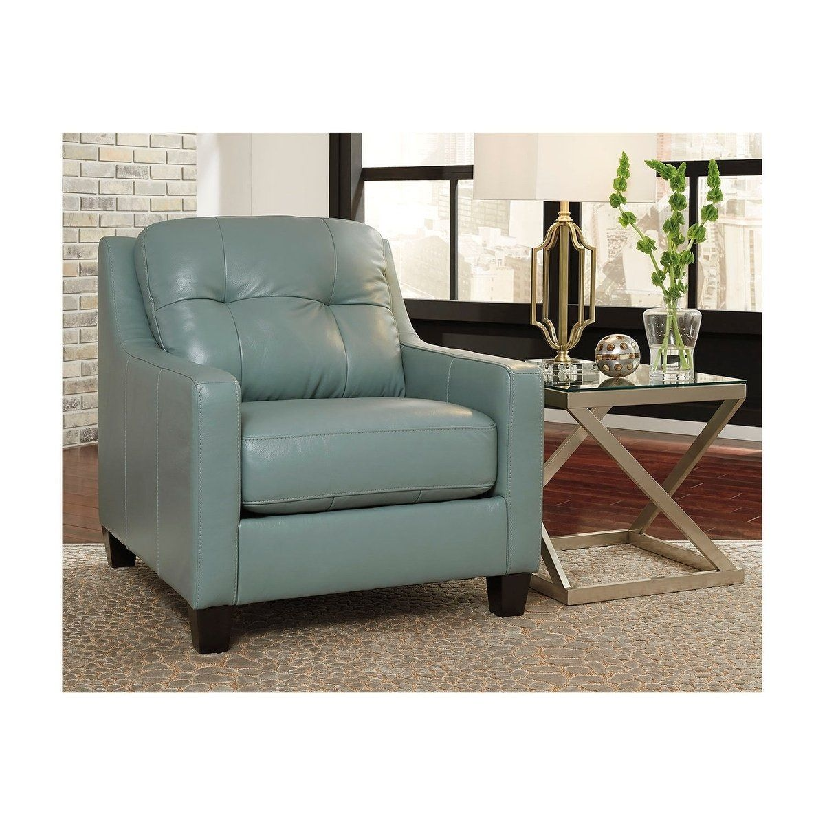 Best Signature Design By Ashley O Kean Chair Blue Leather 640 x 480