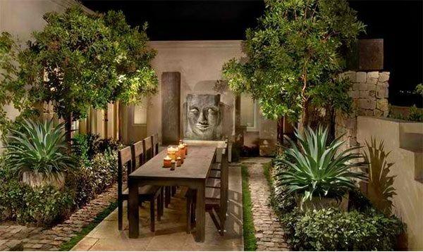 asiatischer garten patio holz gartenmöbel grüne pflanzen | GARTEN