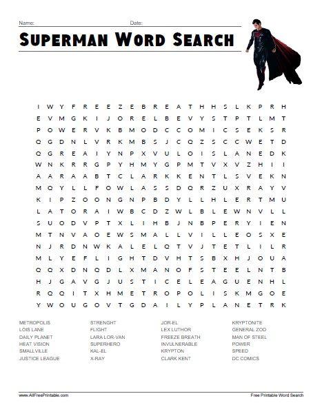 Superman Word Search Free Printable Kids Word Search Word Find Kids Worksheets Printables