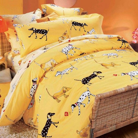 Little Dog Print Yellow Bedding Collection Architecture