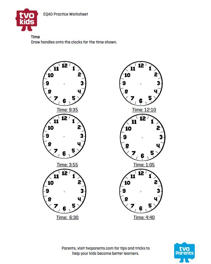 Math Printable Telling Time Lesson For Grade 3 Eqao Math And