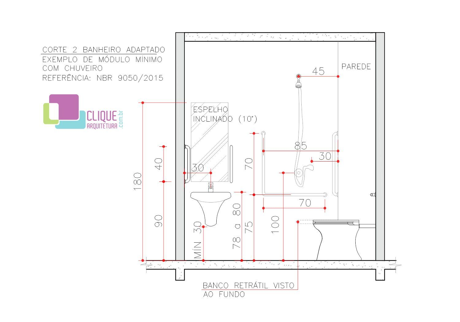 Largura Minima Para Banheiro De Deficiente : Banheiro adaptado clique arquitetura pne