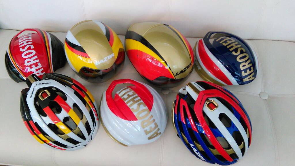 Custom #Lazer helmets for the national road and TT week 2015