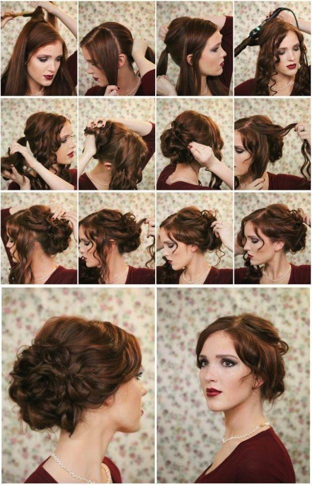 Chignon con capelli mossi  555552c4cd51