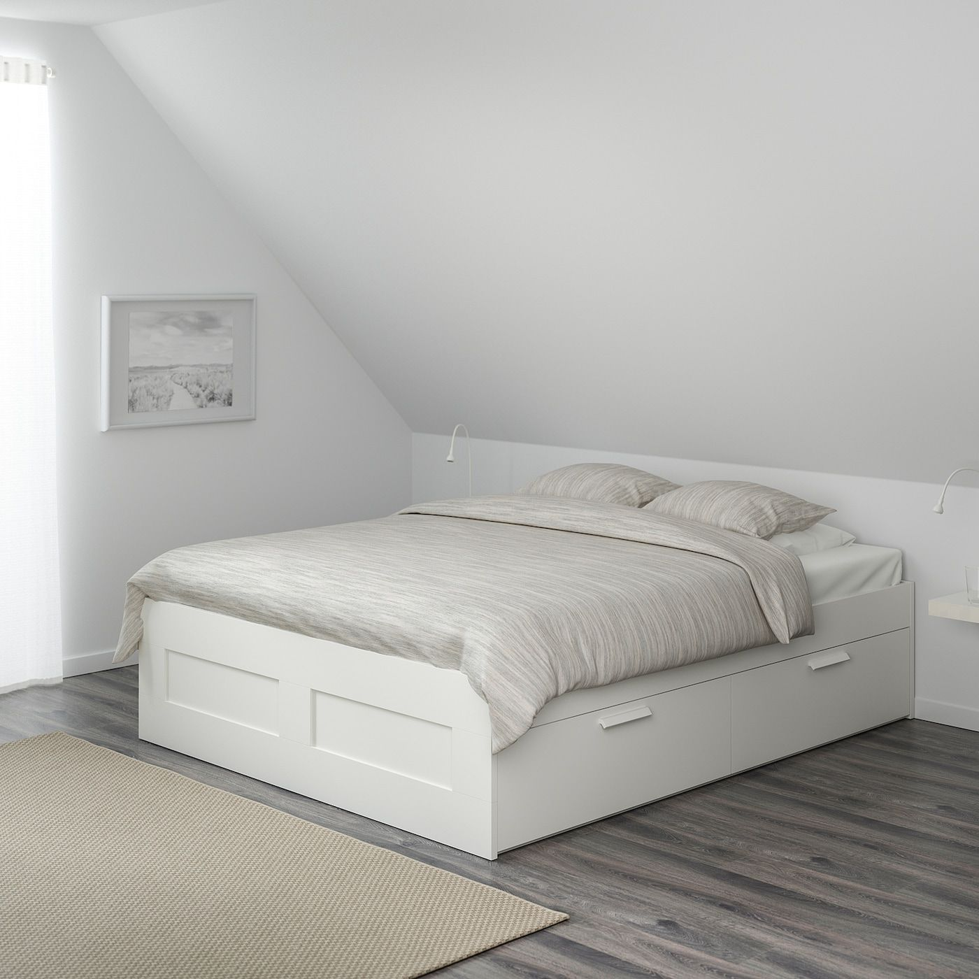 Brimnes Bed Frame With Storage White Luroy Full Ikea In 2020 Bed Frame With Storage Brimnes Bed White Bed Frame