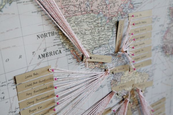 map, string, pins and paper or photos for everyone to make where theyve come from?