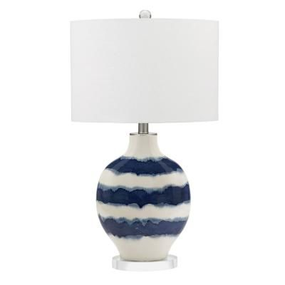 Cresswell 31 5 In White And Blue Coastal Ombre Striped Ceramic Table Lamp Bm1344 01 The Home Depot Table Lamp Ceramic Table Lamps Lamp