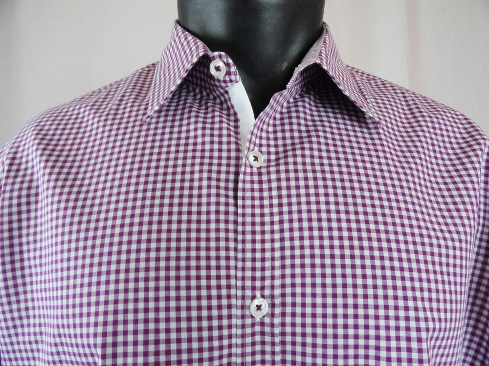 HUGO BOSS Mens XL Gingham Shirt Raspberry White Regular Fit LS Cotton  Button Up #HUGOBOSS