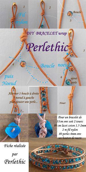 tutoriel bracelet wrap perlethic technique sans aiguille permettant d 39 utiliser un cordon de. Black Bedroom Furniture Sets. Home Design Ideas