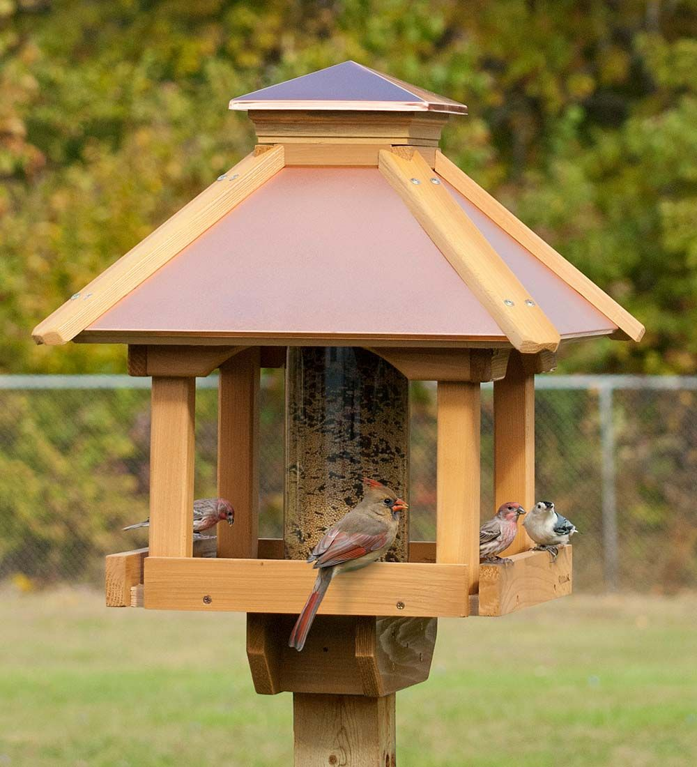 This Gazebo Bird Feeder Is Perfect For Feeding Lots Of Birds And Is Specially Designed To Blend In With Wooden Bird Feeders Large Bird Feeders Wood Bird Feeder