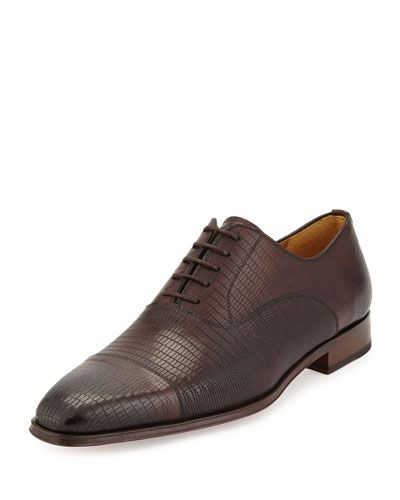 8899d473e53 N3RZW Magnanni for Neiman Marcus Lizard-Embossed Lace-Up Oxford ...