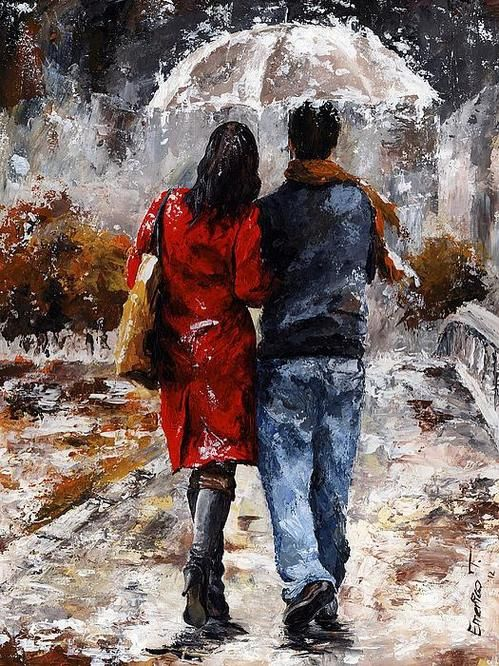 emerico toth | Rainy Day - Walking In The Rain Poster By Emerico Toth