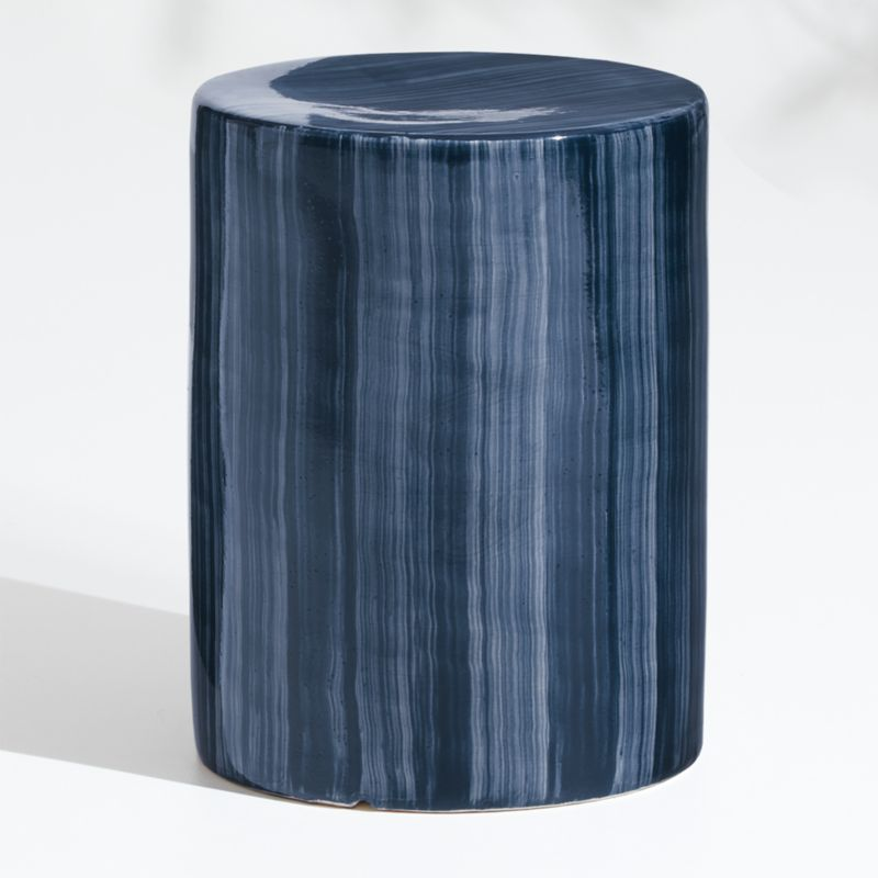Cylinder Navy Blue Garden Stool End Table Reviews Crate And Barrel In 2020 Blue Garden Stool Outdoor Accent Table Garden Stool