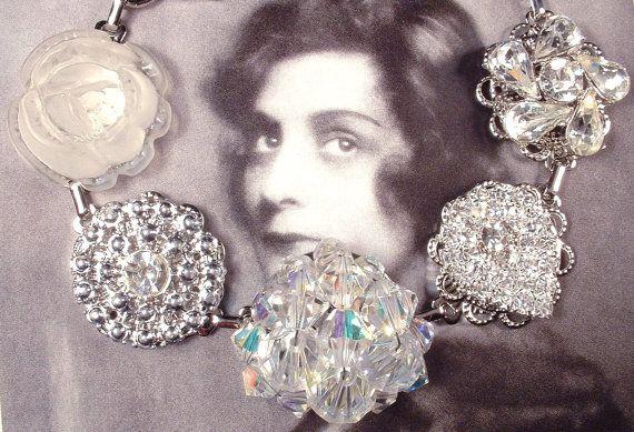 OOAK Clear Crystal & Rhinestone Silver Bridal / Bridesmaids Bracelet, Heirloom Vintage Cluster Earring Jewelry, Old Hollywood Wedding Gift by AmoreTreasure