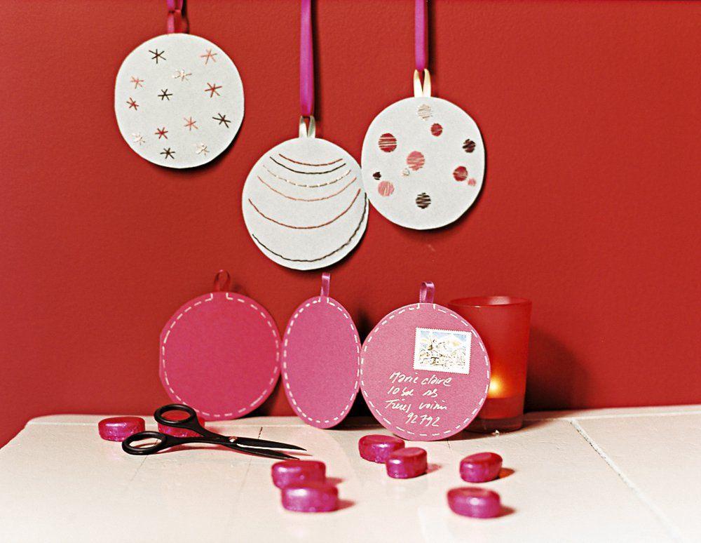 Des cartes de vœux en forme de boules de Noël | Carte de voeux