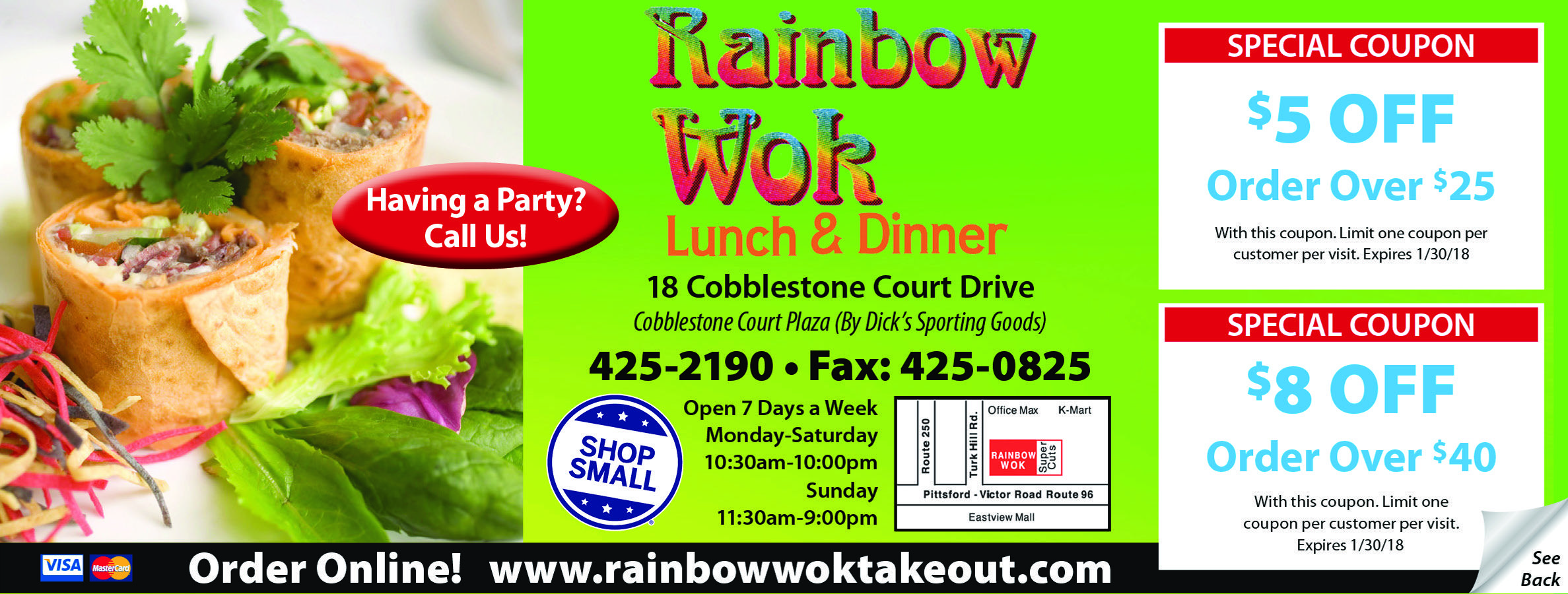 Rainbow Wok Lunch Dinner Restaurant Bar Coupons Of The Month