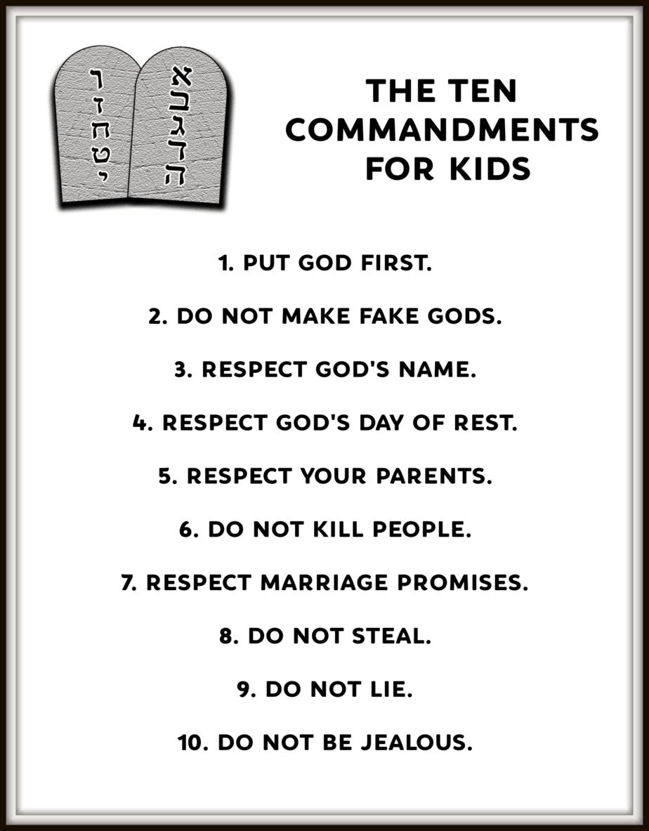 10 Commandments Kids Version - No hassle PDF download | Kids