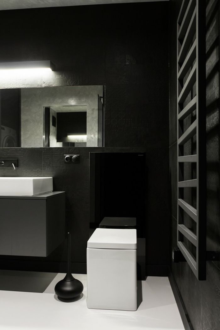 badgestaltung bad ideen badezimmer schwarz wei grauen weiss deko - Badezimmer Schwarz