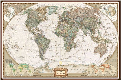 National geographic pinboard world political map executive style national geographic pinboard world political map executive style 92cm x 61cm brown aluminium gumiabroncs Image collections