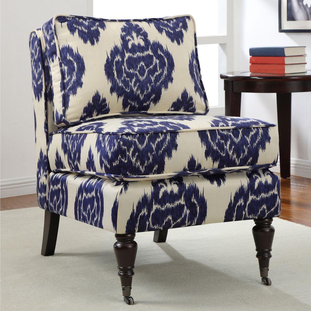 Cassidy Indigo Ikat Armless Chair, Blue (Fabric) | Para el hogar y Hogar