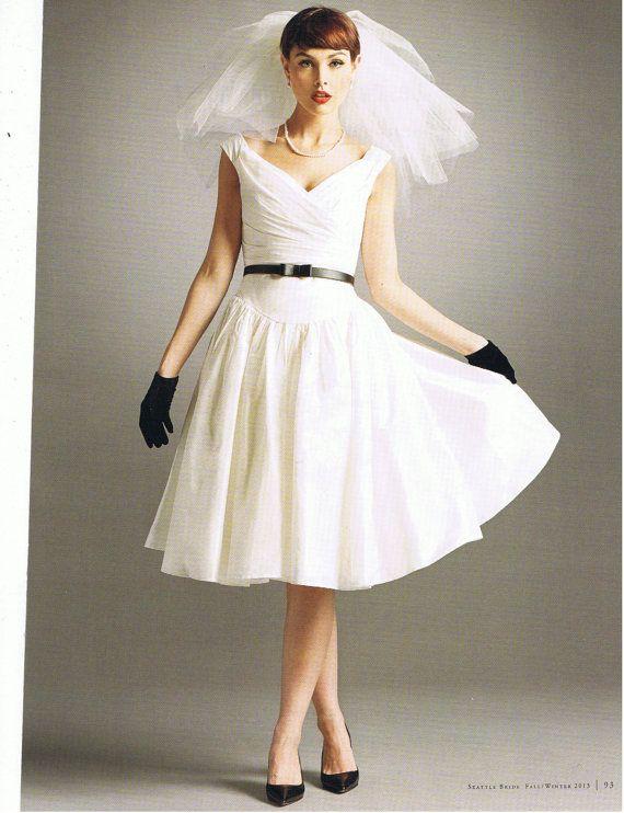 Informal Outdoor Short Wedding Gown Dress Off Shoulder Straps Silk Taffeta White Ivory Tea Length On