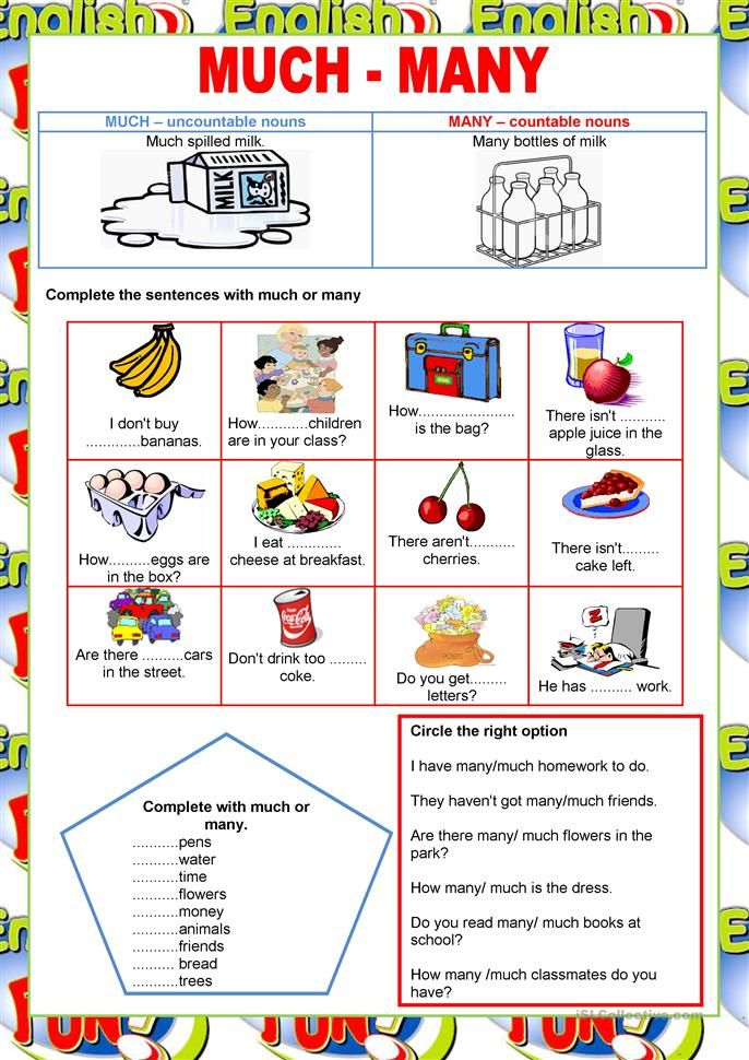 Welcome to English - much and many -quantifiers worksheet ...