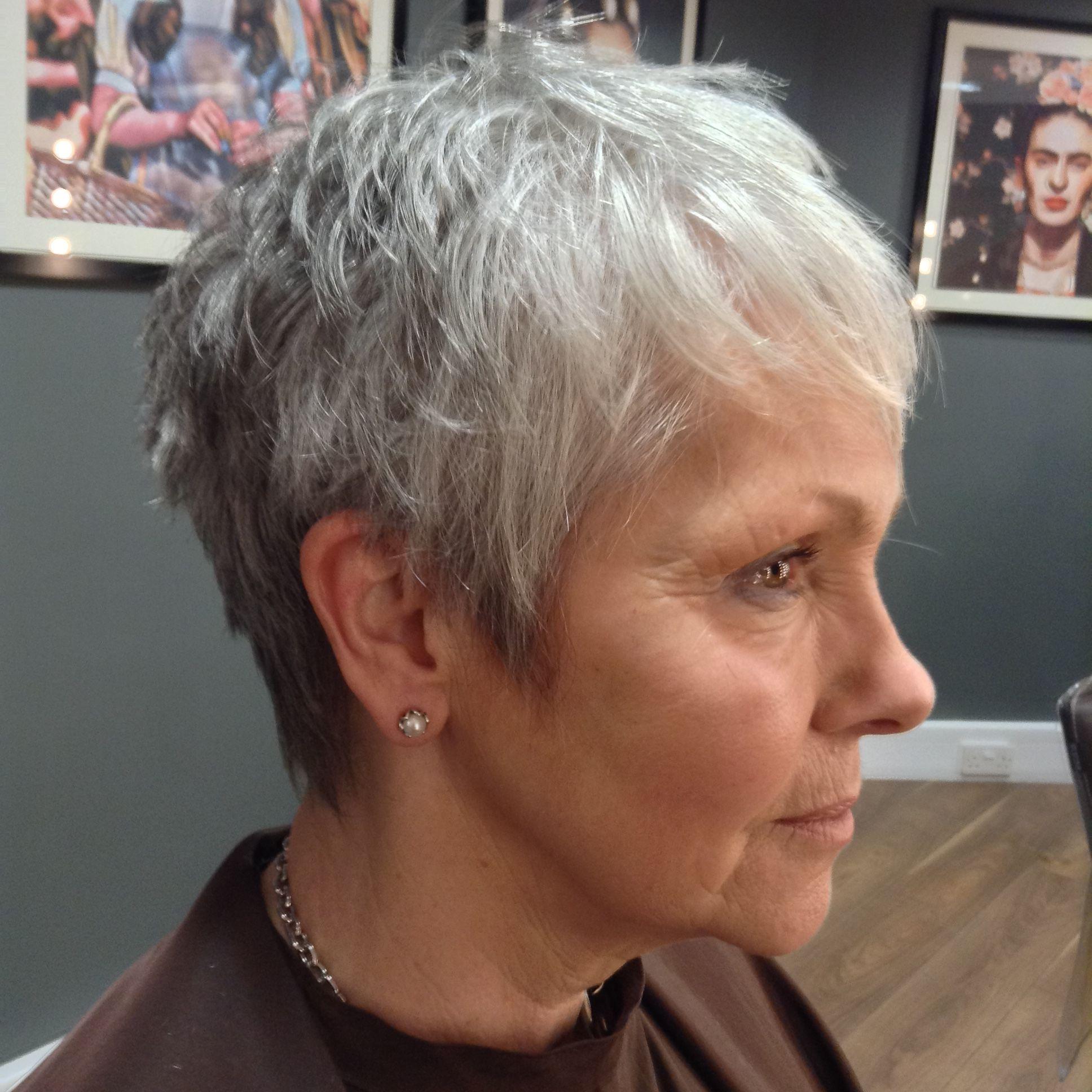 Beautiful natural grey hair with a short textured haircut  Short