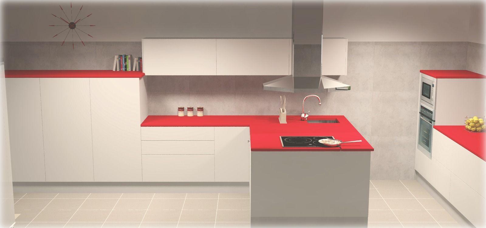 cocina en blanco alto brillo sin tirador encimera roja con pennsula