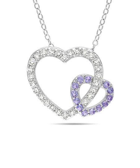 Silver & Purple Tanzanite Double Heart Pendant Necklace