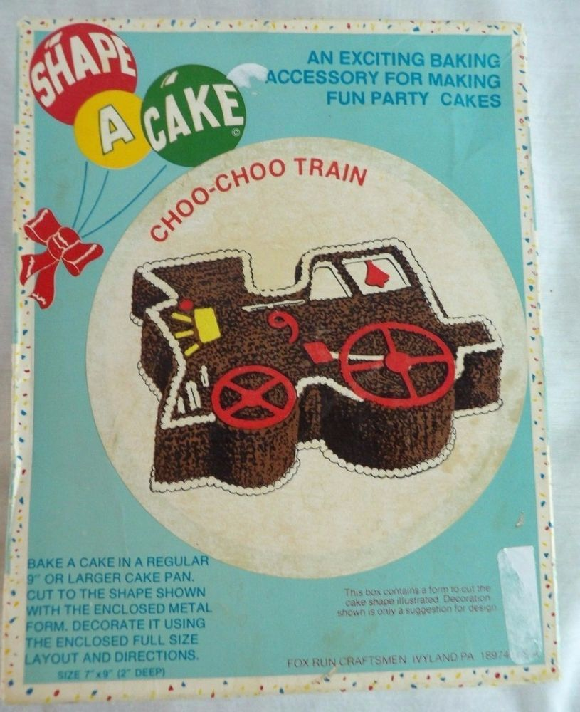 Vintage Shape A Cake CHOO-CHOO TRAIN Cake Cutter- Box & Instructions #FoxrunCraftsmen