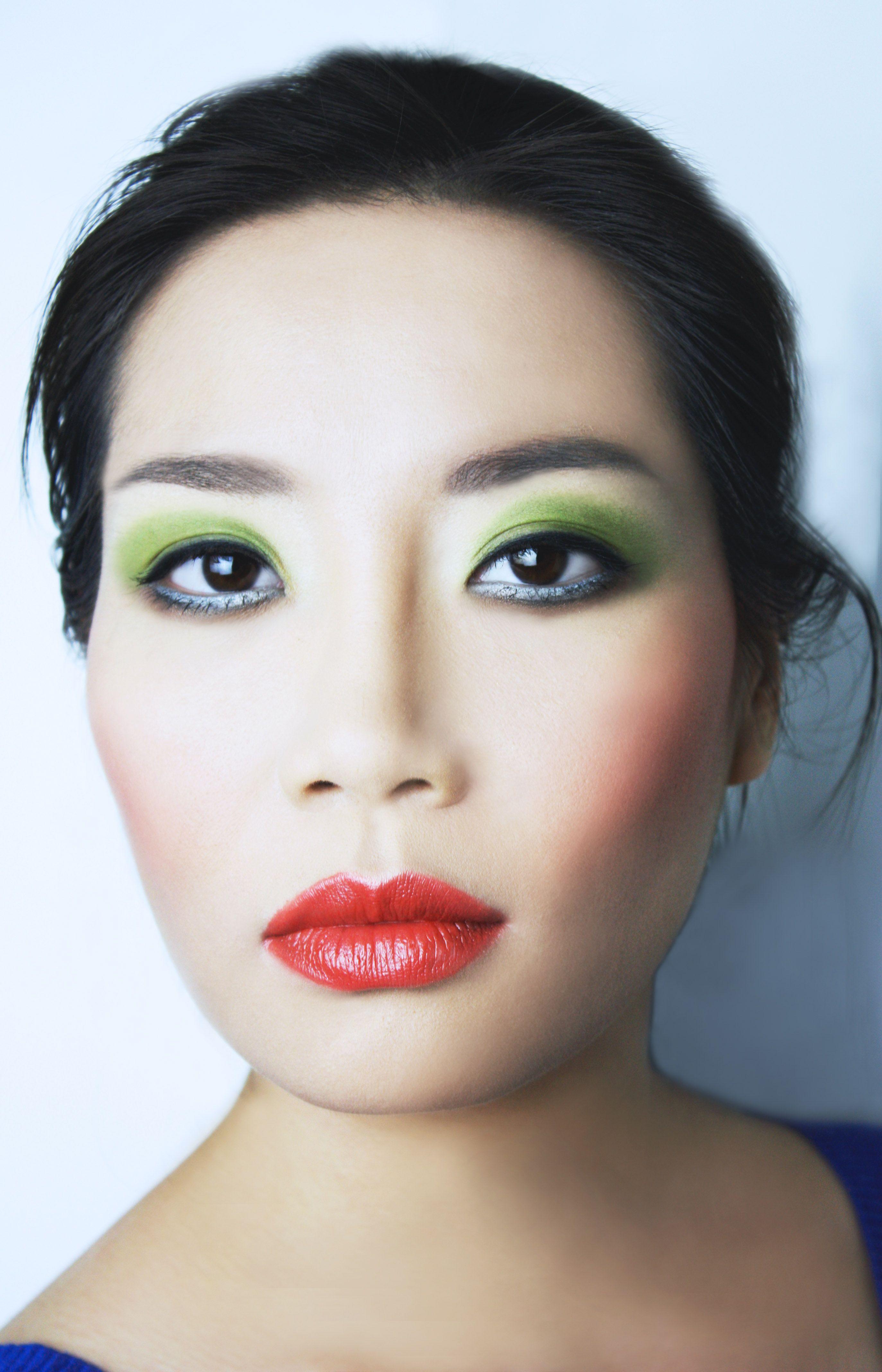 Asian Beauty look Modern Runway Bright Green shadow and