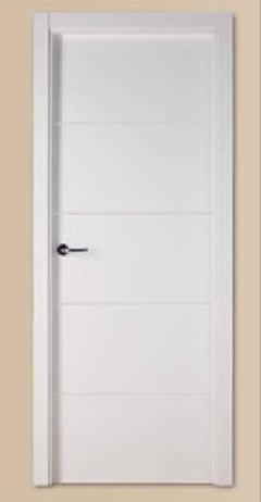 Puerta lacada blanca ranurada maciza valencia detalles - Puertas de interior blancas precios ...