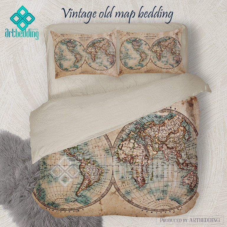 Vintage world map bedding 1800 western and eastern hemispheres old old map bedding vintage old stained world map duvet cover set antique map queen gumiabroncs Gallery