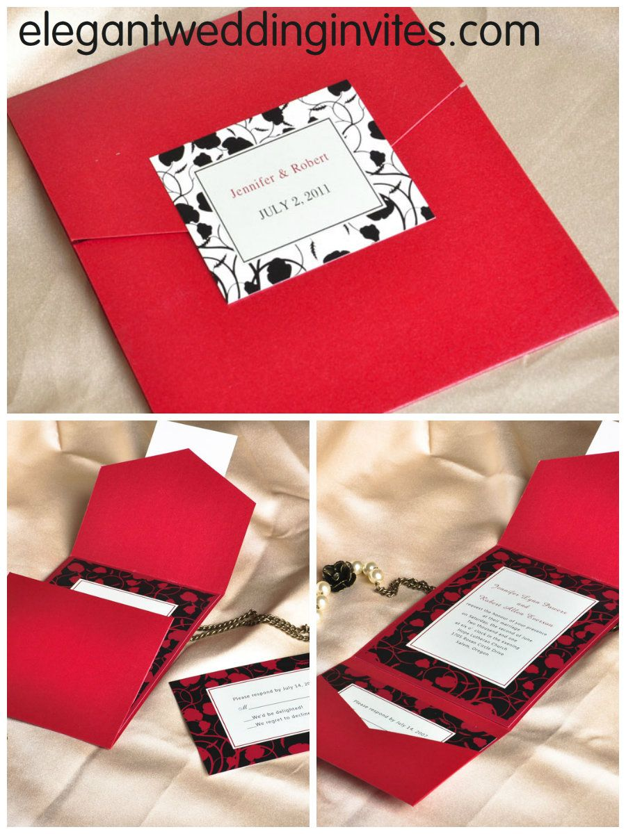 modern red and black pocket printable wedding invitation kits ...