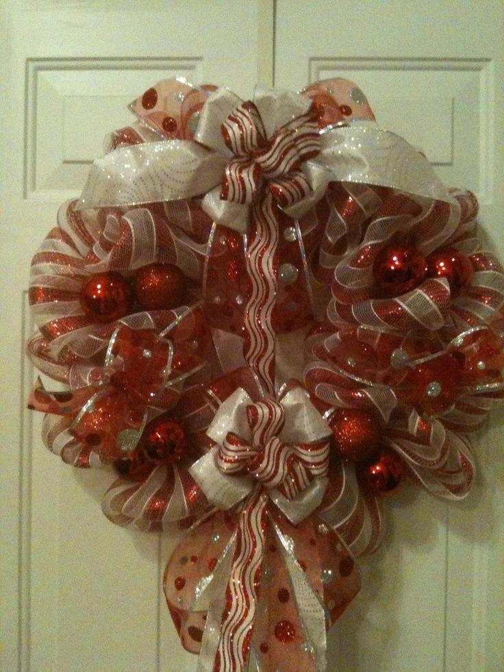 deco+poly+mesh+wreaths | CANDY CANE STRIPE POLY DECO MESH WREATH | Wreaths