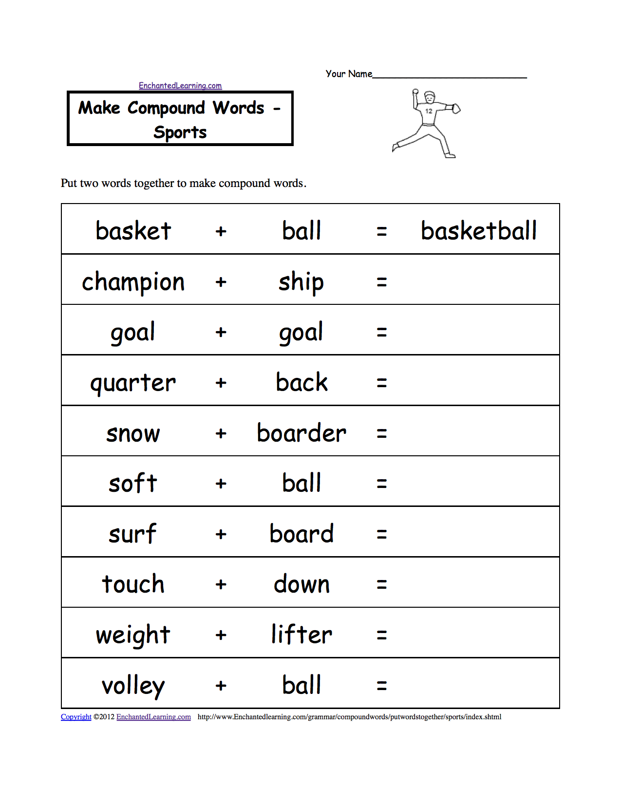 sport worksheets for kids make compound words sports