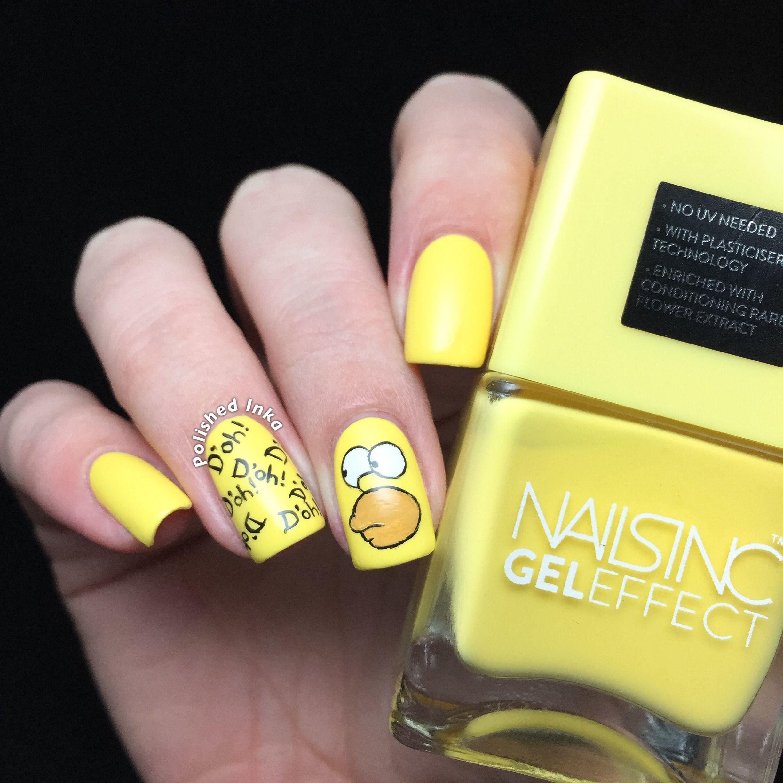 Homer Simpson Nail Art | Polished Inka | Nailaholic | Pinterest ...