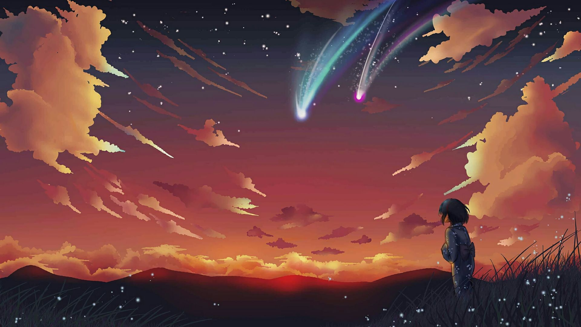 Your Name Mitsuha Anime Scenery Night Comet 17733 Jpg 1920 1080 Anime Scenery Background Images Wallpapers Wallpaper Backgrounds