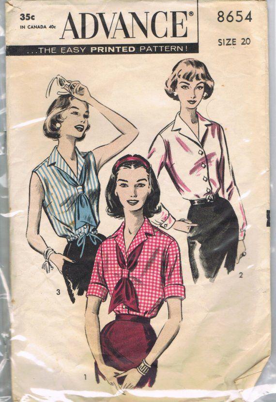 1960s Advance 8654 Blouse Vintage Pattern SALE - Mad Men Mid Century ...