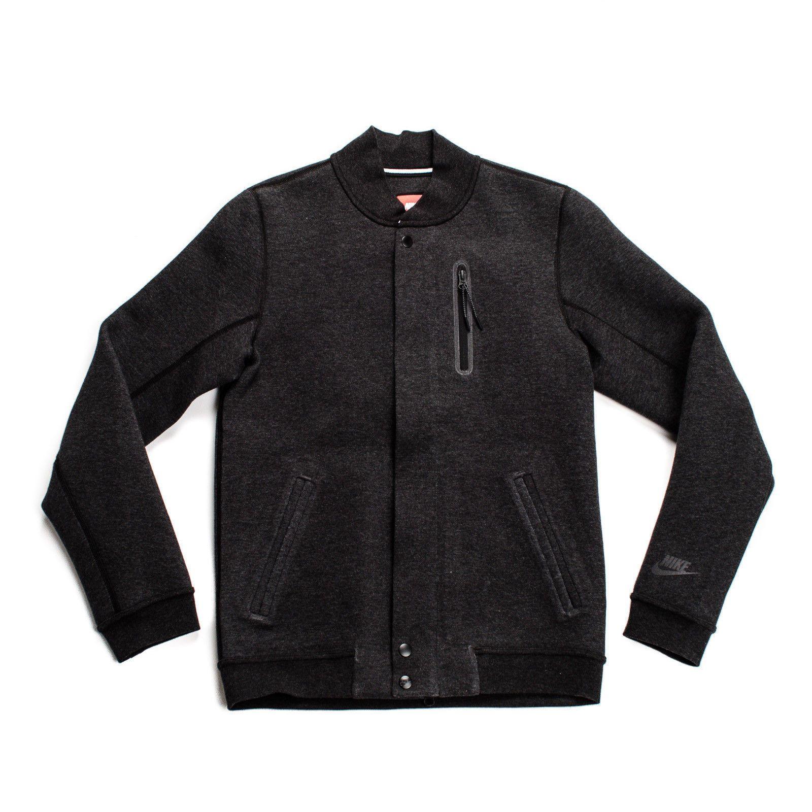 Nike Tech Fleece 3mm Varsity Jacket Black Grey Full Zip
