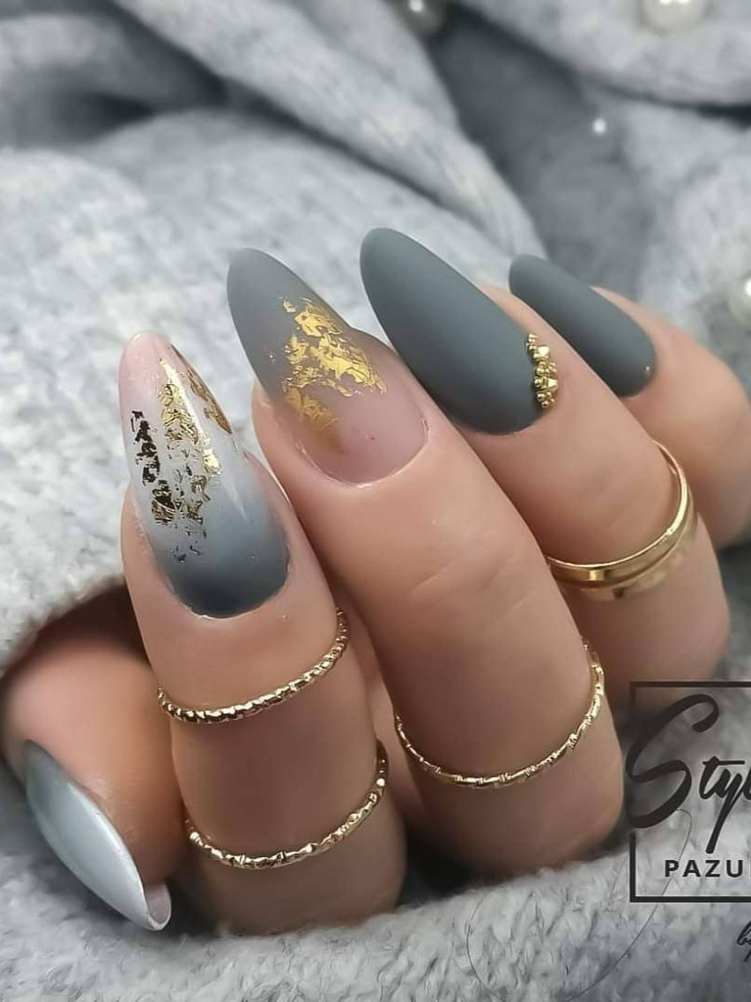 Photo of Stunning matte almond gray nails with ombre gray nails trimmed with gold …