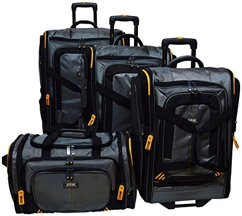 06325b00b2 Lucas Accelerator 4 Pc Collection Luggage Wheeled Suitcase Set 22 26 30inch  And 20inch Carry On Sized Duffel Bag Silver -- This is an Amazon Affiliate  link.