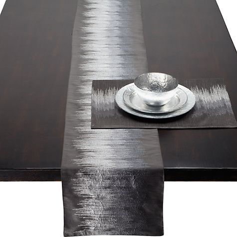 Strie runner and placemats - charcoal from zgallerie