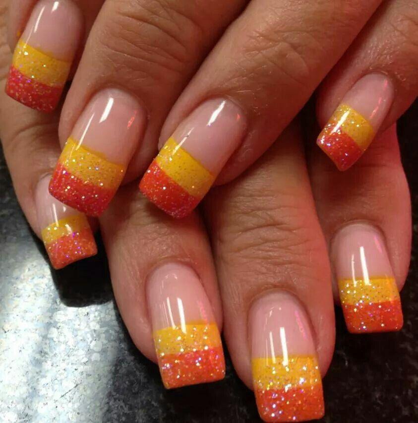 Candy Corn Acrylic Nails | Candy corn nails, Party nails ...