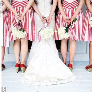 Red striped bridesmaids dresses